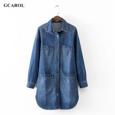 Women 4 Pockets Denim Dress Fashion Casual Single-breasted Button Basic Jeans Dress Spring Autumn Winter Plus Size XL Dress