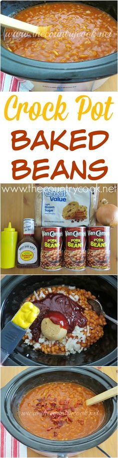 Crock Pot Baked Beans recipe from The Country Cook. Love that his cooks itself and I can keep it warm for everyone while they serve themselves. The flavor gets better the longer it cooks!q=% (Creative Baking Crock Pot) Baked Beans Crock Pot, Crock Pot Slow Cooker, Crock Pot Cooking, Slow Cooker Recipes, Crockpot Recipes, Cooking Recipes, Easy Baked Beans, Slow Cooker Baked Beans, Barbecue Recipes