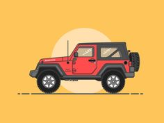 Wrangler by chai Car Illustration, Graphic Design Illustration, Jeep Drawing, Jeep Tattoo, Car Drawings, Car Wallpapers, Land Rover Defender, Monster Trucks, Drawing Ideas