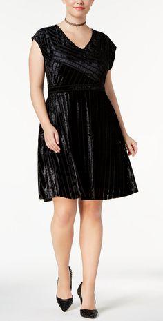 Plus Size Velvet Fit & Flare Dress - Plus Size Party Dress #plussize