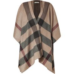 BURBERRY LONDON Smoked Trench Check Cashmere Cecily Cape ($1,335) ❤ liked on Polyvore