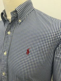 Men's Check Fitted Cotton Button Down Casual Shirts & Tops Le Polo, Gingham Check, Casual Wear, Casual Shirts, Polo Ralph Lauren, Menswear, Blue And White, Mens Fashion, My Style