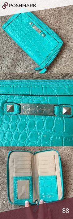 Double zip teal faux alligator print wallet Teal double zip wallet. Plenty of storage space in good condition. No stains, rips or pulls. Jessica Simpson Bags Wallets