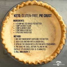 Keto, Gluten-Free Pie Crust Ingredients: cup melted grass-fed butter 1 cup coconut flour 1 cup almond flour 1 tsp himalayan salt 1 pasture raised egg Method: Mix dry ingredients with melted butter. Add 1 egg and mix into a dough ball. I'm very dubious tha Pie Crust Recipes, Gf Recipes, Ketogenic Recipes, Low Carb Recipes, Pie Crusts, Low Carb Pie Crust, Paleo Pie Crust, Gf Pie Crust Recipe, Pie Fillings