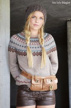 Norwegian Book - Strikk med raske pinner...I love all of this. The braids, the leather belt. Wool and leather = Awesome!