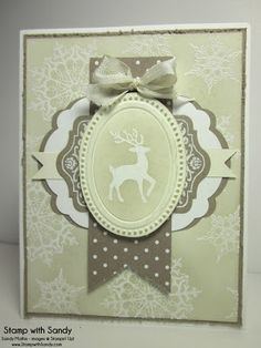 handmade Christmas card from Stamp With Sandy: Vanilla Crumb Cake Christmas .. luv the layered labels die cuts in the central montage ... Stampin' Up!