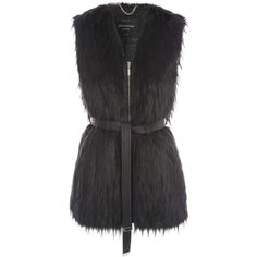 Jane Norman Black Feather Fur Zip Belted Gilet (€38) ❤ liked on Polyvore featuring outerwear, vests, jackets, vest, fur, coats, coats & jackets, black, clearance and vest waistcoat