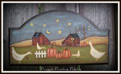 Fall Wood Plaque-Pumpkin-Saltbox Wall Autumn Decor One of A Kind