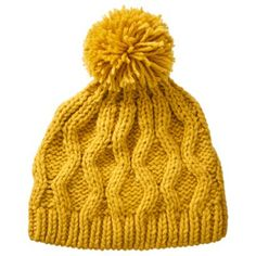 Crochet Beanie Hat with Ball - Yellow