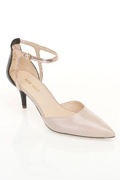 Nine West Magadore Peep Toe Sandal in Powder, Black and Oro