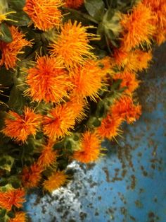 I love the colour combination of the orange carthemus and the rusty blue table!