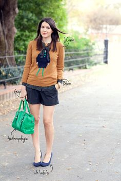 11.12 lady sweater (J Crew sweater + Bloom tie-neck blouse + GAP shorts + Lulu's wedges + Anthropologie bag)