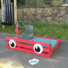 Up-cycle old pallets into a colourful piece of transport for your little ones to explore! Head to the Twinkl website for some great ideas to make the most of your outdoor area as the weather starts to… Outdoor Learning Spaces, Kids Outdoor Play, Outdoor Play Areas, Outdoor School, Outdoor Classroom, Groundhog Day, Pallet Kids, Outdoor Nursery, Kindergarten