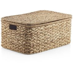 Crate & Barrel Kelby Large Rectangular Lidded Basket (€44) ❤ liked on Polyvore featuring home, home decor, small item storage, lidded basket, hand made baskets, handmade home decor, crate and barrel and rectangle basket