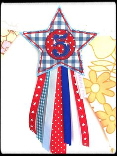 Handmade Red, White and Blue 8th Birthday star Badge  A personal favourite from my Etsy shop https://www.etsy.com/uk/listing/552507699/5th-birthday-badge-number-badge-star