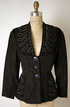 Evening jacket (image 1) | House of Schiaparelli | French | 1948-50 | silk, metallic thread, glass | Metropolitan Museum of Art | Accession Number: 1980.90.2