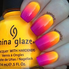 Here are some hot nail art designs that you will definitely love and you can make your own. You'll be in love with your nails on a daily basis. Neon Nails, Diy Nails, Cute Nails, Pretty Nails, Pink Manicure, Sunset Nails, Sunset Gradient, Nagel Gel, Fabulous Nails