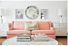 Cute peach couch and white living room