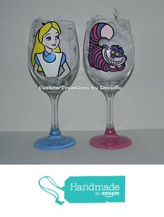 Alice in Wonderland wine glass set from Custom Creations by Danielle