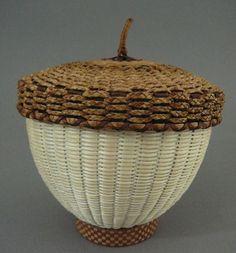 Acorn basket with cedar cover by Jeremy Frey, Passamaquoddy