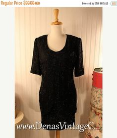 50% Off SALE 80s Style Vintage Black Silk Beaded Sequin Prom Party Cocktail Dress Brilliante by J A Sz P/M