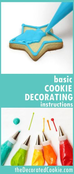 basic cookie decorating instructions -- cut-out cookie and icing recipes, food coloring, piping and outlining, assembling a decorating bag, flooding