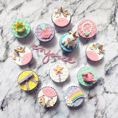 A variety of unicorn and rainbow desserts Rainbow Desserts, Rainbow Cupcakes, Unicorn Cupcakes, Themed Cupcakes, Rainbow Theme, Fondant Cookies, Fondant Cupcake Toppers, Cupcake Cakes, Unicorn Birthday Parties