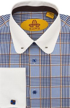 Robert Lewis Cotton/Round Collar with Collar Bar Button Placket/French Cuff Pin Collar Shirt, High Collar Shirts, Shirt Cuff, Collar Dress, Best Dress Shirts, Dress Shirt And Tie, Cool Shirts For Men, Men Shirts, Fashion Casual