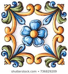 Ilustración de stock sobre Majolica Vintage Ornaments On Antique Tiles 736829209 Tole Painting, Ceramic Painting, Painted Pavers, Boarder Designs, African Art Paintings, Italian Tiles, Antique Tiles, Vintage Ornaments, Vintage Santas