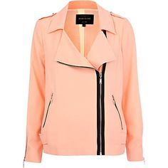 River Island  Coral light biker jacket  Keep it strictly fashion-forward this spring! With a lightweight mix up on your essential biker, this peachy jacket is essential for the coming season. Features contrast black exposed zip fastenings, long sleeves and shoulder tabs.