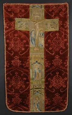 Processional Banner - Italy or Spain - 1475-1500 - Voided silk velvet; metallic colored silk and thread embroidered cross. 43 x 25 1/2 in. (109.22 x 64.77 cm)