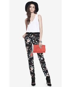 Express | Floral Print Drawstring Pant #Express #floral #pants