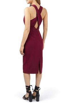 Main Image - Topshop Structured Crisscross Back Midi Dress