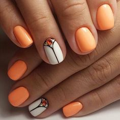 Love these peach and whitenails