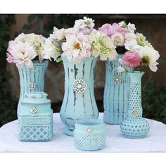 Ruby Tuesday vintage home painted   Vases