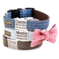Personalized Name Plate Linen Dog Collar *6 colors