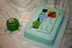 Monster's Inc cake and Mike smashcake-------use fondant accents for the details-----