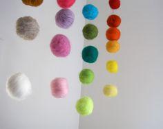 BABY MOBILE - giant felted rainbow balls wool nursery room home decor / Waldorf decoration handmade by SewnNatural. via Etsy.
