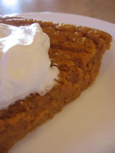 Low cal Crustless Pumpkin Pie  1 ww point per slice