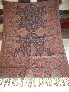 REVERSIBLE Wool Shawl Jamawar Jacquard Weaving Wrap Stole