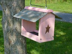 Slate Roof Wooden Hanging Platform Bird Feeder Birdfeeder Handmade Green…