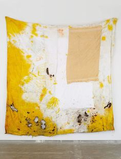 ANNA BETBEZE Morning Shower, 2013 Acid dyes and ash on terrycloth 110 × 106 in  279.4 × 269.2 cm