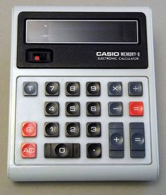 Vintage Casio Memory-8 Handheld LED Electronic Calculator, Made in Japan, Circa the 1970s.