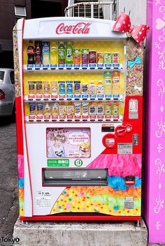 Vending machine in Japan. I think Japan has the highest number of vending machines per person in the world. You can buy anything! Underwear, jewelry, books, food, alcohol,porn, contact lenses, cat and dog food cans ( buttons at the bottom of the machine so that the dog can pick).....