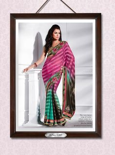 Khazanakart Heavy Worked Saree Faux Georgette Saree in Red, Rama and Yellow Color