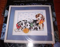"""Design Works PLAYFUL PUPPIES  Puppies and Kitten Hard to Find 11"""" x  14"""""""
