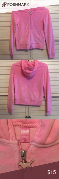 Pink Victoria Secret hooded sweatshirt with zipper Pink Victoria Secret hooded sweatshirt with zipper. Has front pockets and is in great condition! PINK Victoria's Secret Tops Sweatshirts & Hoodies