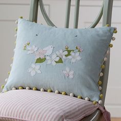 Brighten up your room with our handmade, applique Apple Blossom Flower Cushion