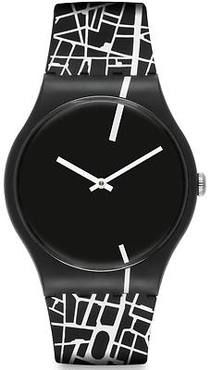 c03c862e62a ... Swatch watch PAR-LON features a quartz movement