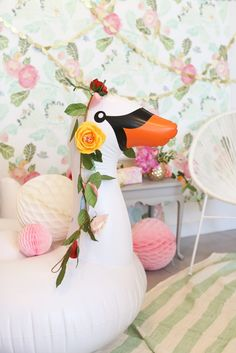 inflatable swan as party decor